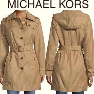 Michael Michael Kors Hooded Cotton Trench Coat⭐️